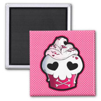 Petit gâteau rose de crâne magnet carré