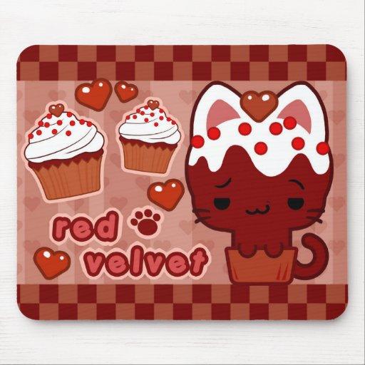 Petit gâteau rouge Kitty Mousepad de velours Tapis De Souris