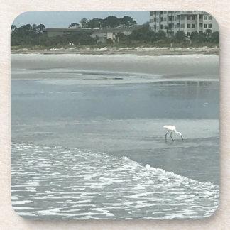 Petit héron sur la plage dessous-de-verre