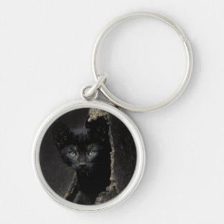 Petit Kitty noir Porte-clé Rond Argenté