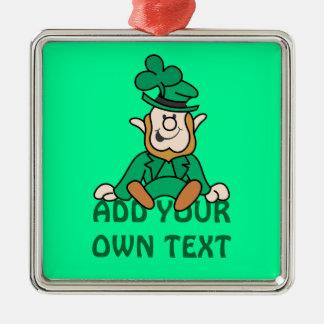 Petit lutin - ajoutez votre propre texte ornement carré argenté