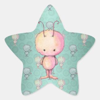 Petit monstre mignon autocollant en étoile