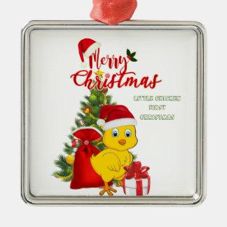 Petit Noël de poulet de bébé Ornement Carré Argenté