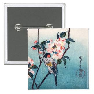 Petit oiseau sur des beaux-arts de Hiroshige de Badge