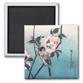 Petit oiseau sur des beaux-arts de Hiroshige de Magnet Carré