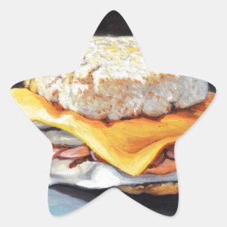 Petit pain anglais de jambon, d'oeufs et de sticker étoile