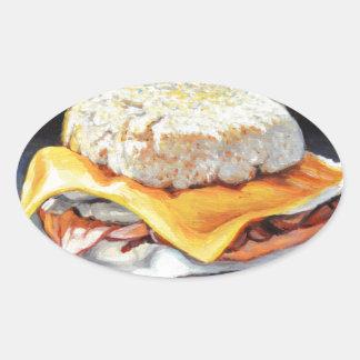 Petit pain anglais de jambon, d'oeufs et de sticker ovale