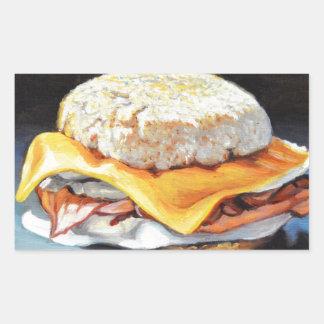 Petit pain anglais de jambon, d'oeufs et de sticker rectangulaire