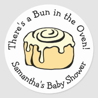 Petit pain dans la coutume de baby shower de petit sticker rond