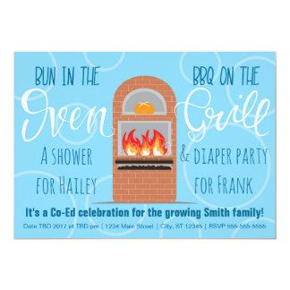 Petit pain dans l'Oven/BBQ sur la partie de Co-ed Carton D'invitation 12,7 Cm X 17,78 Cm