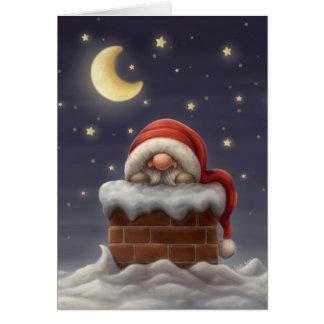 Petit Père Noël dans une cheminée Carte De Vœux