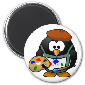 Petit pingouin animated mignon de peintre magnet rond 8 cm
