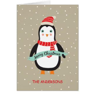 Petit pingouin mignon personnalisé de Noël Carte De Vœux
