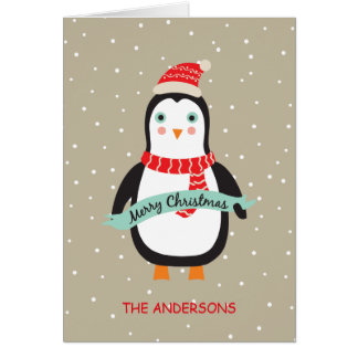 Petit pingouin mignon personnalisé de Noël Cartes
