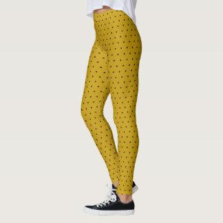 Petit pois noir sur le jaune de moutarde leggings