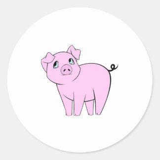 Petit porcin mignon (porc de bébé) - noir rose sticker rond