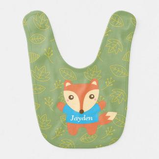 Petit renard mignon dans le bleu, pour le bébé bavoir de bébé