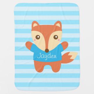 Petit renard mignon dans le bleu, pour le bébé couvertures de bébé