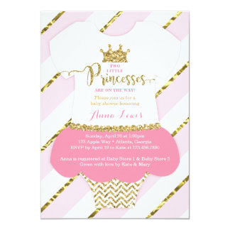 Petit rose jumeau d'invitation de princesses baby carton d'invitation  12,7 cm x 17,78 cm