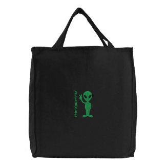 Petit sac brodé d'hommes verts