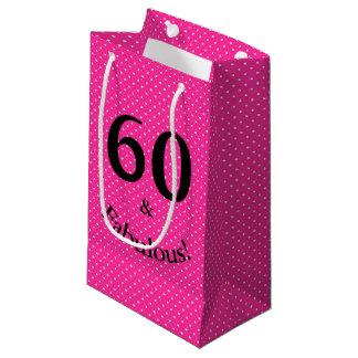 Petit Sac Cadeau 60 et pois rose lumineux d'anniversaire fabuleux