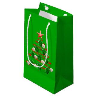Petit Sac Cadeau Arbre de Noël de tortues de mer verte