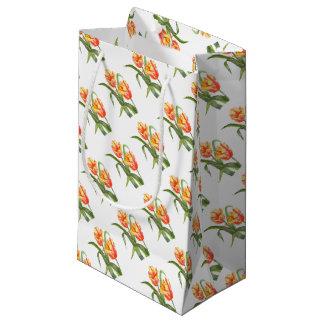 Petit Sac Cadeau Art floral de perroquet de fleur jaune de tulipes
