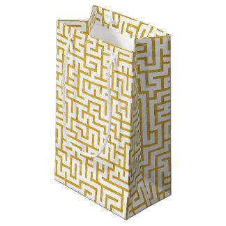 Petit Sac Cadeau Art moderne de labyrinthe élégant - or et blanc