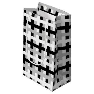 Petit Sac Cadeau Blanc abstrait, gris et noir