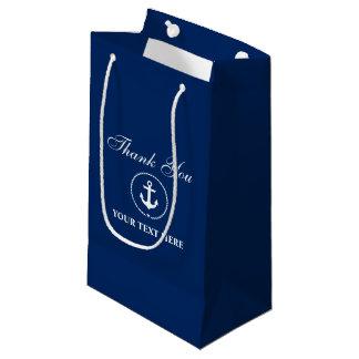 Petit Sac Cadeau Bleu marine nautique de corde d'ancre de nom de