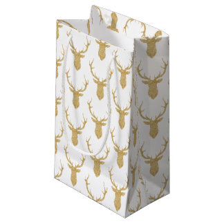 Petit Sac Cadeau Cerfs communs de Noël de parties scintillantes