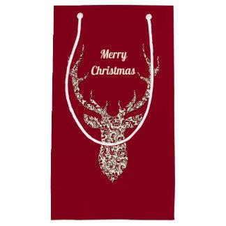 Petit Sac Cadeau Cerfs communs en filigrane de Noël