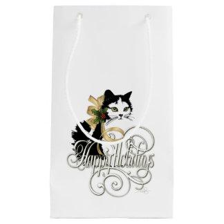 Petit Sac Cadeau Chat noir et blanc de vacances