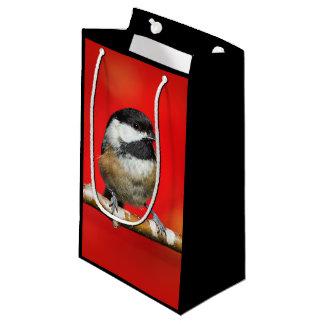 Petit Sac Cadeau Chickadee Noir-Couvert mignon avec le feuille