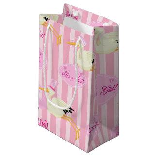 Petit Sac Cadeau Cigogne rose et blanche de bébé