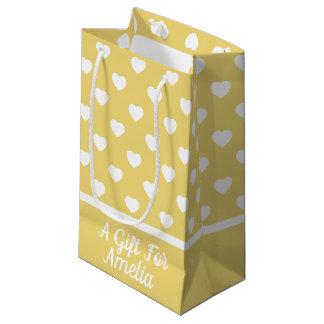 Petit Sac Cadeau Coeurs blancs sur le jaune vintage de bébé