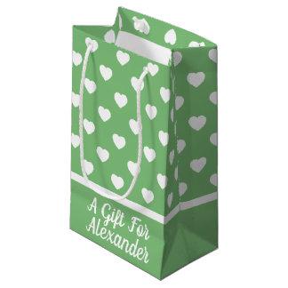 Petit Sac Cadeau Coeurs blancs sur le vert vintage personnalisé