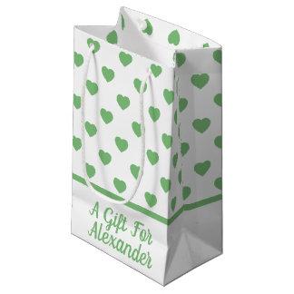 Petit Sac Cadeau Coeurs verts vintages sur le blanc personnalisé