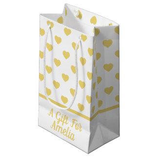 Petit Sac Cadeau Coeurs vintages de jaune de bébé sur le blanc
