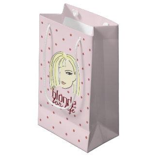 Petit Sac Cadeau Cool rose de bande dessinée de fille de pois blond