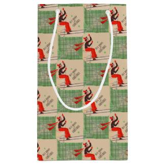 Petit Sac Cadeau copie de skieur de Noël des années 1950
