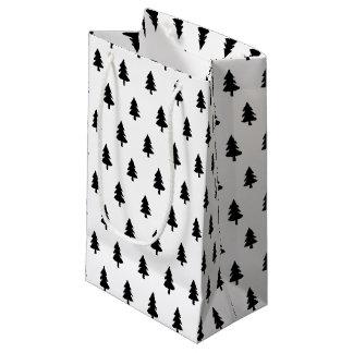 Petit Sac Cadeau COUTUME de NOËL d'ARBRE noire minimaliste de White