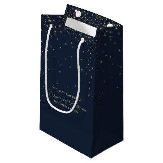 Petit Sac Cadeau Étoiles filantes élégantes de marine et d'or