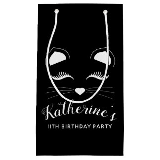 Petit Sac Cadeau Fête d'anniversaire noire et blanche de chat
