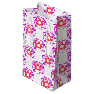 Petit Sac Cadeau Fleur rose et orange de latex