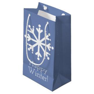 Petit Sac Cadeau Flocons de neige blancs sur le gris bleu