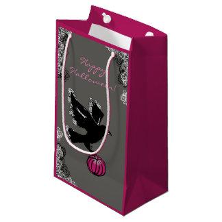 Petit Sac Cadeau illustration de Halloween d'un corbeau et d'un