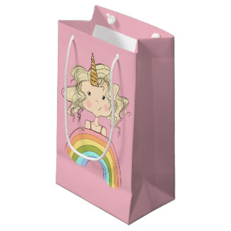 Petit Sac Cadeau Illustration de licorne de fille