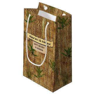 Petit Sac Cadeau Joyeux anniversaire en tissu en bambou hawaïen de