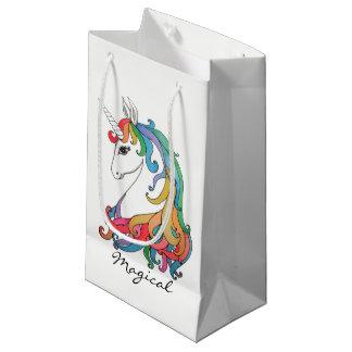 Petit Sac Cadeau Licorne mignonne d'arc-en-ciel d'aquarelle